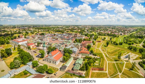 Zamosc from a bird's eye view. Panorama of the old city seen from the air. Monuments and tourist attractions Zamosc.
