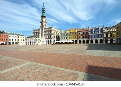 Zamosc city hall on Great Market Square, Lublin voivodship, Poland. Colorful Manneristic buildings of late Renaissance period. Popular polish travel destination.   UNESCO World Heritage List.