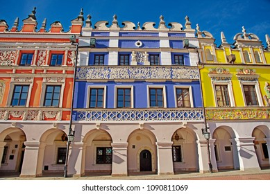 ZAMOSC, LUBLIN VOIVODESHIP / POLAND - MAY 12, 2018: Historic buildings of the old town in the historic Great Market Square
