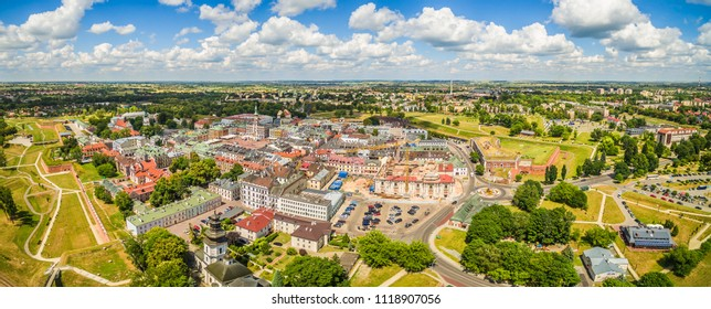 Zamosc - Panorama of the old town from a bird's eye view. Landscape of the historic part of Zamosc.