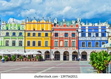 ZAMOSC, POLAND, 30 AUGUST 2018: Beautiful coloured architecture
