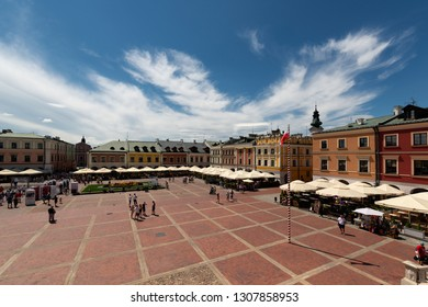 ZAMOSC, POLAND -  8 JUL: Daily Life in Zamosc on JUL 8, 2018. Center of the old town in Zamosc