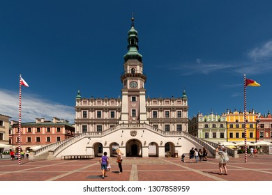 ZAMOSC, POLAND -  8 JUL: Daily Life in Zamosc on JUL 8, 2018. Town hall at the center of the old town in Zamosc