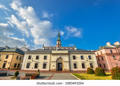Zamosc, Poland - August 23, 2017: Beautiful ancient Town Hall of Zamosc and bright blue sky.  Town Zamosc is  UNESCO World Heritage List site.