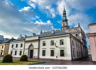 Zamosc, Poland - August 23, 2017: Beautiful ancient city office near Town Hall in Zamosc and bright blue sky. Town Zamosc is UNESCO World Heritage List site.