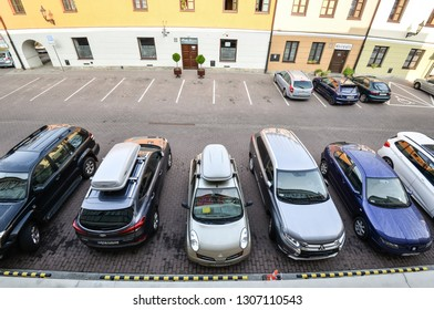 Zamosc, Poland - August 23, 2017: View on hotel parking space and cars in Zamosc, Poland