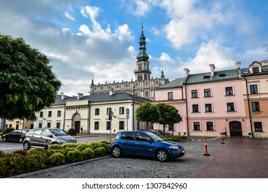 Zamosc, Poland - August 23, 2017: View on City officel of Zamosc and bright blue sky. Town Zamosc is UNESCO World Heritage List site.