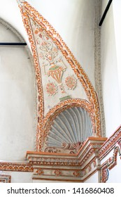 Zamosc, Poland - Juny 10, 2018: Detail of Jewish synagogue interior. Painting and molding. Renaissance. Recently restored to the Polish Jewish community.