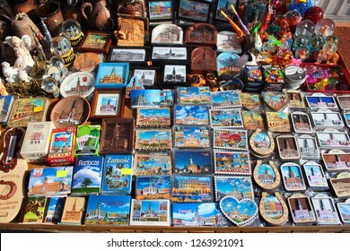 Zamosc, Poland - May 1, 2018: Souvenirs on display at street vendor stall in Zamosc Old Town, the Unesco World Heritage Site and a popular tourist destination.