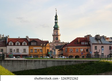 Zamosc, Poland - May 1, 2018: View of Old Town of Zamosc, the Unesco World Heritage Site and a popular tourist destination in Eastern Poland.