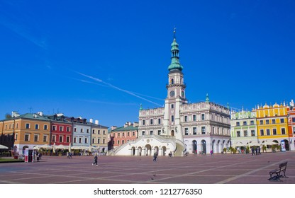 ZAMOSC, POLAND - October 16, 2018: Town hall at Great Market Square in Zamosc