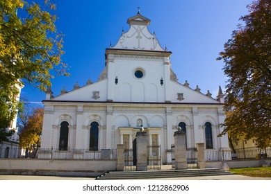 ZAMOSC, POLAND - October 16, 2018: Cathedral of the Resurrection and St. Thomas the Apostle in Zamosc