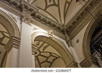 ZAMOSC, POLAND - October 16, 2018: Interior of Cathedral of the Resurrection and St. Thomas the Apostle in Zamosc