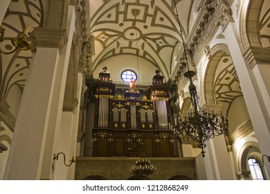 ZAMOSC, POLAND - October 16, 2018: Organ of Cathedral of the Resurrection and St. Thomas the Apostle in Zamosc