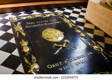 ZAMOSC, POLAND - October 16, 2018: Tombstone of grave of Jan Zamoyski in Cathedral of the Resurrection and St. Thomas the Apostle in Zamosc