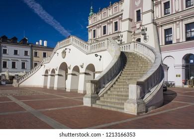ZAMOSC, POLAND - October 16, 2018: Stairs of Town Hall at Great Market Square (Rynek Wielki) in Zamosc