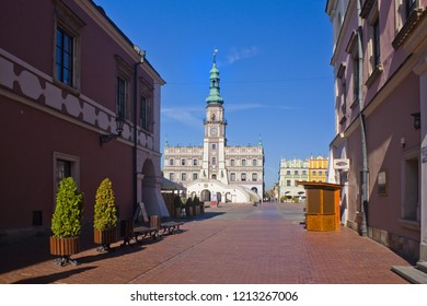 ZAMOSC, POLAND - October 16, 2018: Town Hall at Great Market Square (Rynek Wielki) in Zamosc