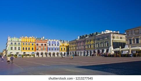 ZAMOSC, POLAND - October 16, 2018: Great Market Square (Rynek Wielki) in Zamosc