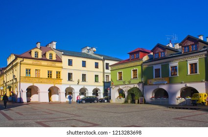 ZAMOSC, POLAND - October 16, 2018: Salt Market Square (Rynek Solny) in Old Town of Zamosc