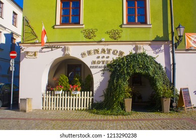 ZAMOSC, POLAND - October 16, 2018: Building at Salt Market Square (Rynek Solny) in Old Town of Zamosc