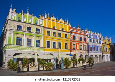 ZAMOSC, POLAND - October 16, 2018: Richly decorated houses of Armenian merchants in Zamosc