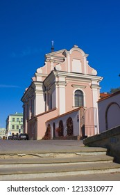 ZAMOSC, POLAND - October 16, 2018: Church and Monastery of Poor Clares  in Zamosc