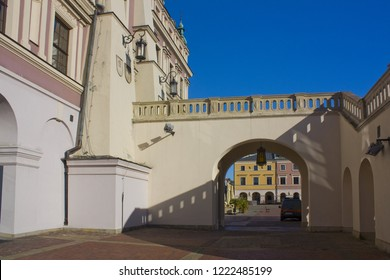 ZAMOSC, POLAND - October 16, 2018: Stairway of Town Hall at Great Market Square (Rynek Wielki) in Zamosc