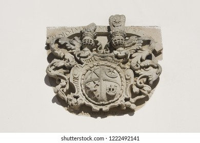 ZAMOSC, POLAND - October 16, 2018: Coat of arms on Town Hall at Great Market Square (Rynek Wielki) in Zamosc