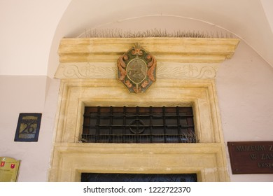 ZAMOSC, POLAND - October 16, 2018: Fragment of richly decorated house of Armenian merchants in Zamosc