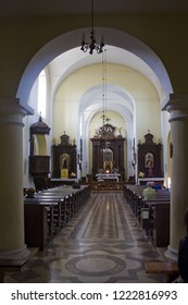 ZAMOSC, POLAND - October 16, 2018: Interior of Church of St. Catherine in Zamosc