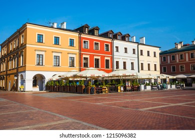 Zamosc, Poland - September 01, 2018: Great Market Square in Zamosc, Poland