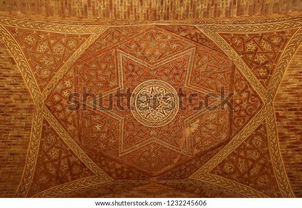 ZANJAN, IRAN-SEPTEMBER 28,2018:Ancient stone carving in Dome of Soltaniyeh is an ancient mausoleum near Zanjan city, Iran. UNESCO World Heritage Site.