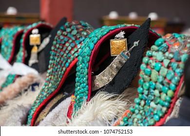 Zanskari women wearing ethnic traditional Ladakhi headdress with turquoise stones called Perakh Perak, Ladakh, India