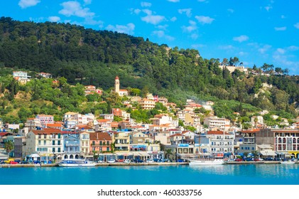 Zante town panorama from the sea. Sunny summer day on the island of Zakynthos Greece