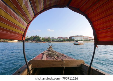 Zanzibar, 2017 December 20: View to Zanzibar city from the boat.