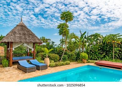 ZANZIBAR CITY, TANZANIA - AUGUST 12, 2017: Villa of Zanzibar Island in Zanzibar, Tanzania.