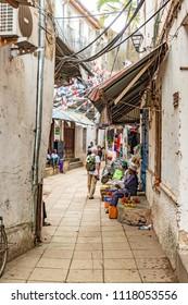 ZANZIBAR CITY, TANZANIA - AUGUST 14, 2017: Stone Town in Zanzibar, Tanzania.