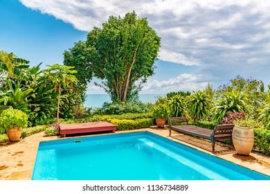 ZANZIBAR CITY, TANZANIA - AUGUST 15, 2017: Villa of Zanzibar Island in Zanzibar, Tanzania.