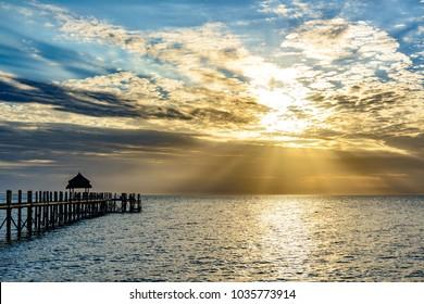 Zanzibar Island in Tanzania at sundown. Zanzibar is a semi-autonomous region of Tanzania in East Africa.