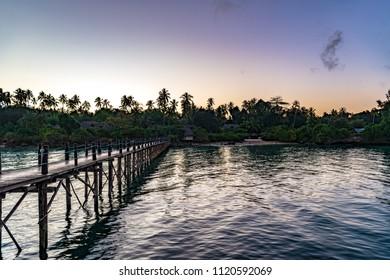 Zanzibar island in Tanzania at twilight. Zanzibar is a semi-autonomous region of Tanzania in East Africa.