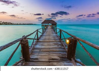 Zanzibar jetty sunset.