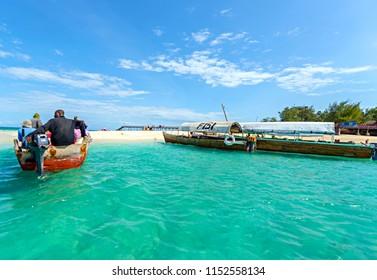 ZANZIBAR - JULY 20 : Prison Island in Zanzibar with turquoise water and sail boat on July 20, 2015 in Zanzibar, Tanzania.