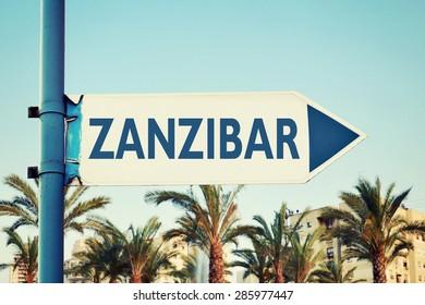 Zanzibar Road Sign, Africa. Travel Destination