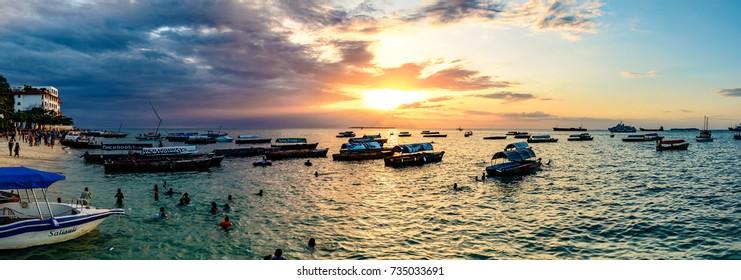 ZANZIBAR, TANZANIA - August 13: Sunset of Stone Town in Zanzibar, Tanzania on August 13, 2017. Zanzibar is a semi-autonomous region of Tanzania in East Africa.