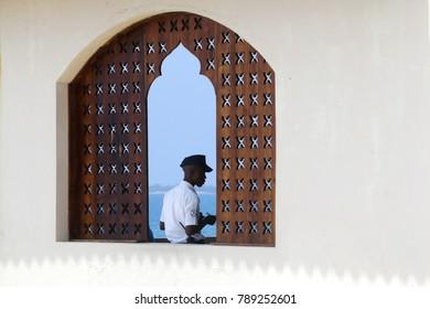Zanzibar, Tanzania - December 16, 2017: A police man in Zanzibar city, Tanzania.