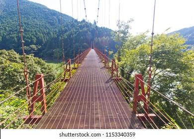 Zaobashi Bridge over Arita river in Wakayama, Japan.
