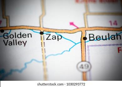 Zap. North Dakota. USA on a map.