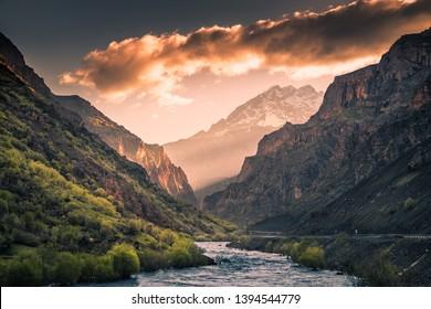zap river and snowy mountain peak at sunrise of the hakkari