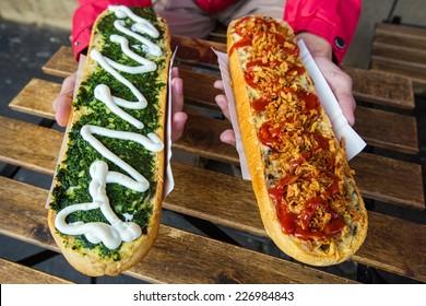 Zapiekanka, street food baguette in Krakow