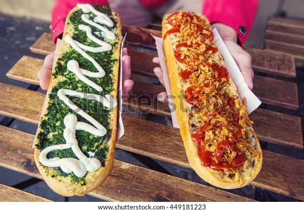 Zapiekanka, street food baguette in Krakow, Poland, European street eats outdoor